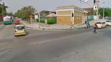 Lugar donde estaba parado el bus al momento del hurto