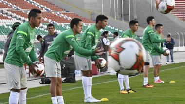 Los jugadores de Bolivia en los entrenamientos previos a los próximos compromisos de eliminatoria.