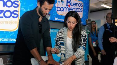 Mariana Pajón y su prometido Vincent Pelluard.