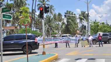 Los propietarios, durante la protesta.