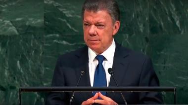 El presidente Santos durante su intervención ante la ONU