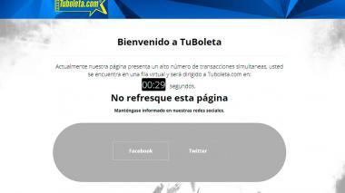 Suspenden venta de entradas para partido de Colombia tras caída de página de TuBoleta