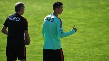 Cristiano Ronaldo durante su entrenamiento con Portugal.