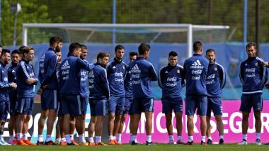 La selección de Argentina durante su última práctica antes viajar a Quito.