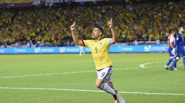 Radamel Falcao García celebrando su gol ante Paraguay el pasado jueves en el Metropolitano.