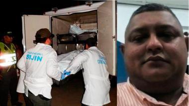 Levantamiento del cuerpo de Ernesto Urrea Garrido, a un lado de la foto.