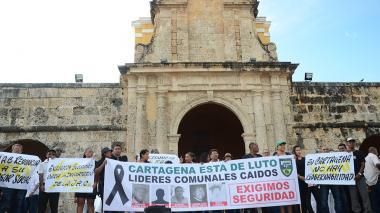 Aspectos de una protesta de los líderes comunales.