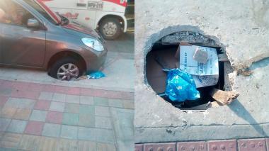 'Trampa mortal' a causa de un hueco en vía del barrio San Vicente