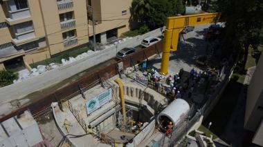Vista panorámica del pozo donde comenzará trabajos la tuneladora.