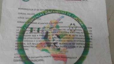 El supuesto panfleto de las Autodefensas Gaitanistas de Colombia, enviado a los empleados de Supergiros.