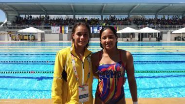 Las nadadoras colombianas Carolina Murillo y Daniela Zapata.
