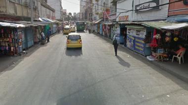Un sector del Centro de Barranquilla, a la altura de la carrera 43.