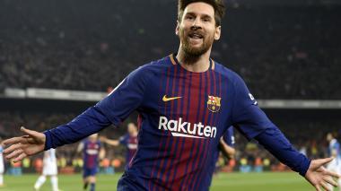 Lionel Messi celebra su tanto anotado al Espanyol.