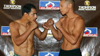 El venezolano Yeison Cohen y el colombiano Hugo Berrío, minutos previos a la pelea en el Hotel El Prado.
