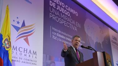 El presidente Juan Manuel Santos, en su intervención en la Asamblea General Ordinaria de Afiliados de la Cámara de Comercio Colombo Americana.
