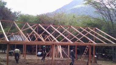 Aspecto de uno de los campamentos de las Farc en Conejo, La Guajira, construido con donaciones.