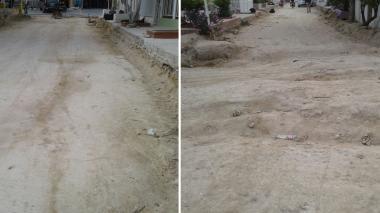 Este es el estado en el que se encuentra la obra en el barrio Kalamarí.