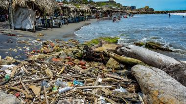 Basura como botellas y troncos se encuentran acumulados en las playas de Salgar.