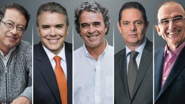 Gustavo Petro, Iván Duque, Sergio Fajardo, Germán Vargas Lleras y Humberto de la Calle.