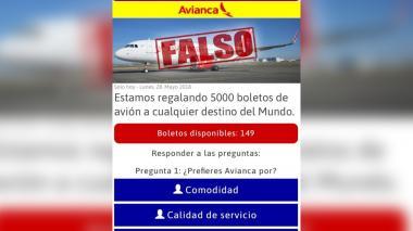 Cadena de tiquetes gratis es falsa, advierte Avianca