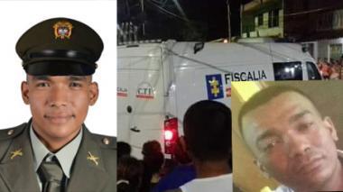 José del Carmen Pineda Carrillo, el policía asesinado anoche en Santa María. En la otra foto su hermano Haider Pineda Carrillo, el otro acribillado.