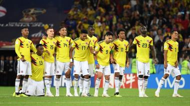 Los jugadores de la Selección Colombia en la tanda de penales.