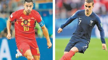 El Bélgica-Francia traerá un duelo especial, el que vivirán los delantero Antoine Griezmann y Eden Hazard.