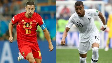 Eden Hazard (izquierda) y Kylian Mbappé (derecha), dos figuras mundiales del fútbol.