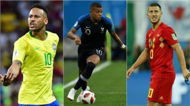 Neymar, Mbappé y Hazard.
