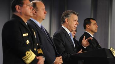 El presidente Santos cuando se refería este lune al proceso con el Galeón San José.