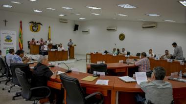 Aspecto de la sesión del Concejo de ayer.