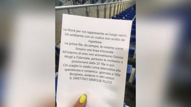 """Federación italiana considera """"broma de mal gusto"""" texto sexista en estadio"""