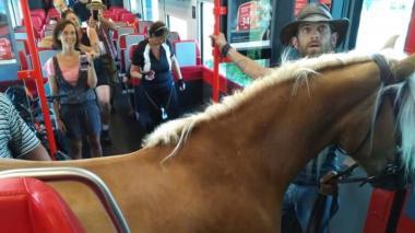 El joven junto a su caballo durante el viaje en el tren.