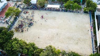 Panorámica aérea de la cancha de Villa Estadio.