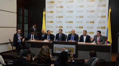 Miembros de la Bancada Caribe en una rueda de prensa realizada recientemente en Bogotá.