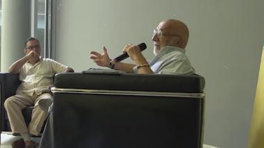 Javier Franco y Juan Gossaín en el evento de Libraq.