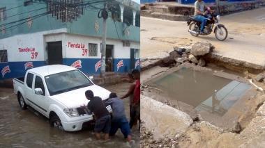 Lluvia de estos días deja trampa mortal en calle de Chiquinquirá
