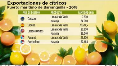 Más de 200 toneladas de cítricos se han exportado desde Barranquilla