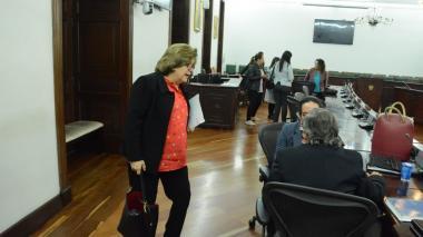 La ministra de Justicia, Gloria María Borrero, luego del informe de la ponencia.