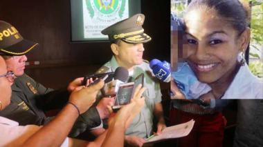 El general Luis Humberto Poveda, Comandante de la Policía de Cartagena, cuando presentaba excusas. En el recuadro Kelys Zapateiro, la joven asesinada.