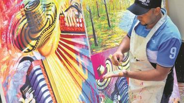 Las costumbres y tradiciones de la tierra vallenata son plasmadas en las pinturas que los artistas exhiben y comercializan.