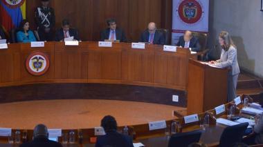 Marta Lucía Ramírez, vicepresidenta, durante la audiencia de seguimiento a la sentencia T-025 de 2004.