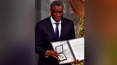 Denis Mukwege en la ceremonia donde recibió el Premio Nobel de Paz 2018, en Oslo, Noruega.