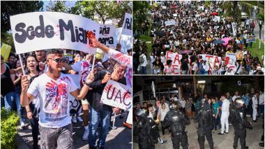 Un grupo de estudiantes de la Uniautónoma protesta en las calles del norte de la ciudad. Estudiantes de la UA marchando por el corredor. La fuerza pública interviene en la Metropolitana.