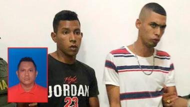 Los capturados, Isaías De Jesús Acosta Crúzate  y Jean Luis Jiménez Yarala. En el recuadro, la víctima mortal, Alexander Manuel Noriega Muñoz.