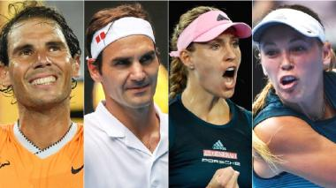 Rafa Nadal, Roger Federer, Angelique Kerber y Caroline Wozniacki.