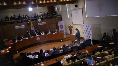 Aspecto de la sesión  que se llevó a cabo ayer  en la Corte Constitucional.