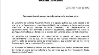 Gobierno de Ecuador denuncia desplazamiento de colombianos hacia su país