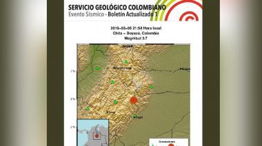 Sismo de 3.7 grados se registró en Boyacá