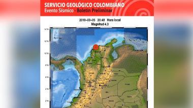 Temblor de 4,3 grados se registró en Barranquilla